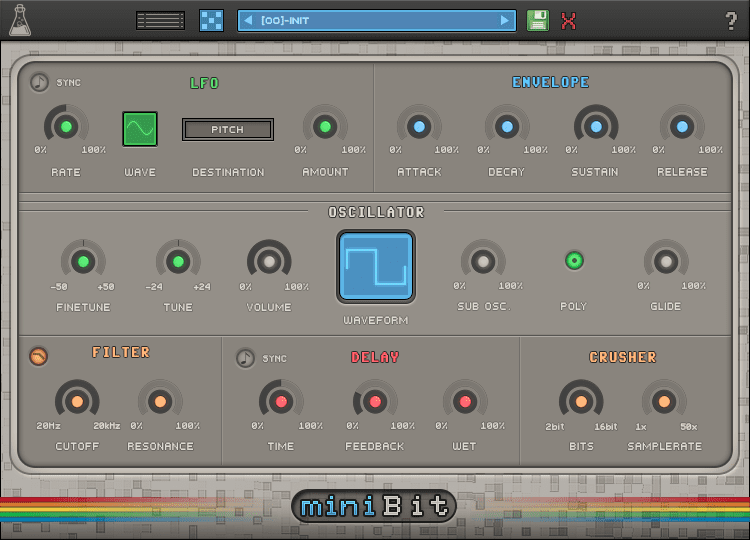 AudioThing miniBit VST/AU/AAX GUI - 8bit and chiptune synth